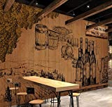 Rovovom Papier Peint Photo Restaurant Papier Peint 3D Bouteille De Vin De Cave Vintage Nostalgique Rétro (L) 400X (H) 280 Cm Toile Autocollante Café Fond De Mur Décoration Affiche Conception D'Image