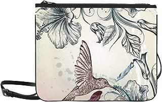 Vintage Style Hummingbird N Hibiscus Flower Pattern Custom High-grade Nylon Slim Clutch Bag Cross-body Bag Shoulder Bag