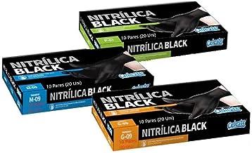 Luva Nitrílica Black Barbeiro Cabeleireiro Churrasqueiro Tintura Esteticista Profissional