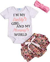 Newborn Baby Girls Clothes I'm The Pink in My Daddy's World of Camo Rompers+Ruffel Pants Shorts+Headband 3PCS Outfits Set