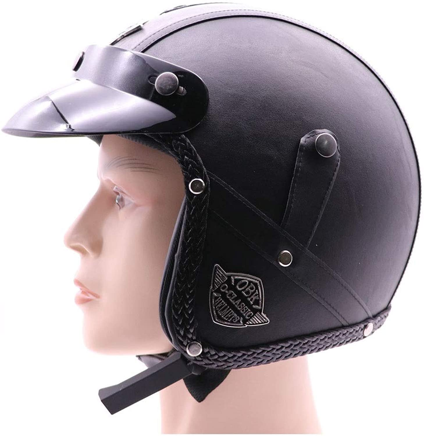 Songlin@yuan Retro Safety Helmet Handmade Personality Retro Harley Helmet Motorcycle 3 4 Leather Helmet Half Helmet Men and Women Half Helmet Predection