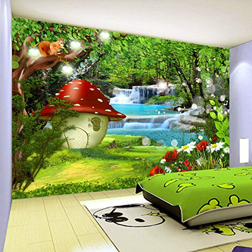 Yosot Benutzerdefinierte 3D Fototapete Für Kinderzimmer Cartoon Kinder Zimmer Grün Wald Dekoration Wandbild Hintergrundbild Für-140cmx100cm