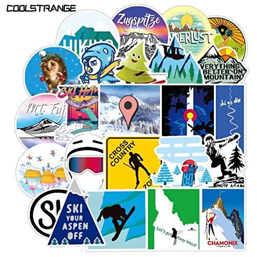BLOUR 35Pcs / Pack Winter Skifahren Schnee Berg Aufkleber Spielzeug für Kinder Motorräder Skateboards Telefone DIY Hand Tagebücher Sammelalben