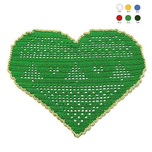 Centrino verde e oro a forma di cuore per Natale all'uncinetto - Dimensioni: 26 cm x 18 cm H - Handmade - ITALY