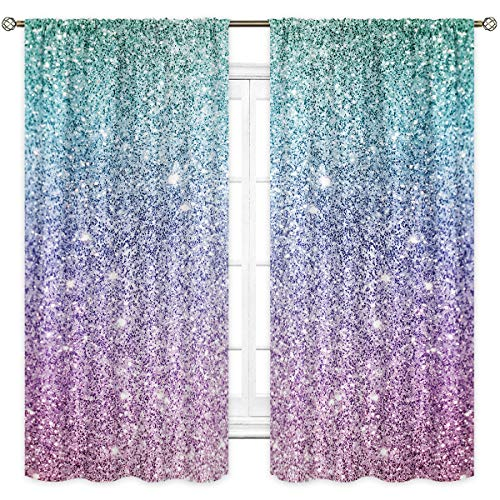 Cinbloo Spot (Not Glitter) Curtains Girls Rod Pocket Mermaid Fantasy Dots Sparkle Dream Light PsychedelicArt Printed Living Room Bedroom Window Drapes Treatment Fabric 2 Panels 42 (W) x 63(L) Inch