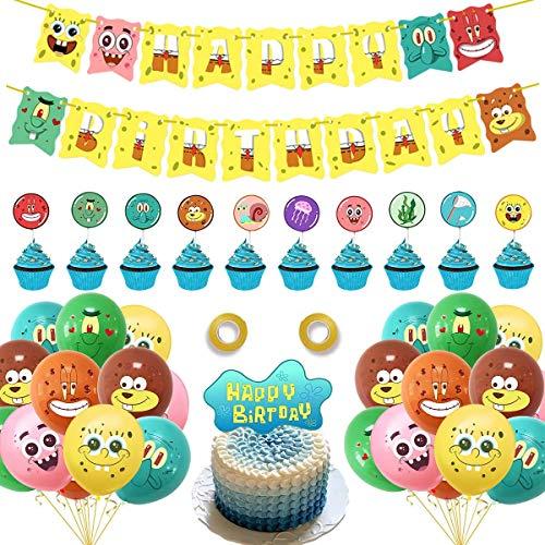 BESTZY Globos para fiestas de Niños 38PCS Suministros de globos de fiesta de Bob Esponja Decoración para tartas con diseño para Favores Regalo Carnaval Boda