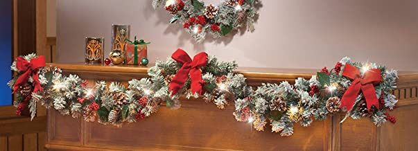 Collections Etc Lighted Christmas Frosted Pine Garland
