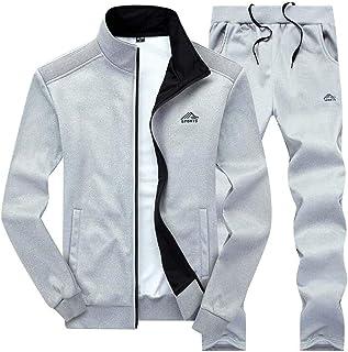 Macondoo Men Stand Collar Jacket and Sweatpants Tracksuit Set 2 Pieces