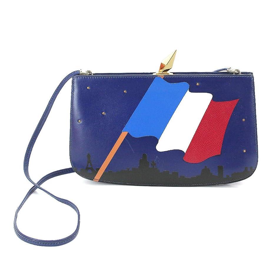 ランドマーク訴えるあえてエルメス HERMES サック アマリース フランス国旗 ショルダー バッグ ボックスカーフ ブルー マルチカラー レア 【中古】 90071458