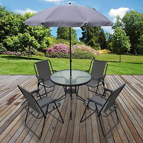 Marko Outdoor 6PC Garden Patio Furniture Set Outdoor Grey 4 Seats Round Table Chairs & Parasol