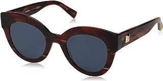 Max Mara Women's Mm Flat I Round Sunglasses, Brown Horn, 48 mm