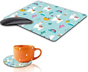 Mouse Pad and Coaster Set, Cute Llama Alpaca Design Rectangle Non-Slip Rubber Mouse Pads Office Desk Accessories for Computers Laptop
