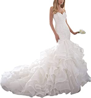 Women's Mermaid Sweetheart Wedding Dress for Bride Lace Applique Organza Ruffles Bridal Gowns