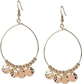 SIX Damen Ohrringe, Creolen, Perlen, Plättchen, Festival, Sommer, Party, Statement-Ohrring, gold (784-298)