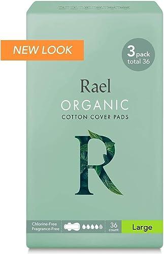 Rael serviettes hygiéniques ultrafines maxi avec ailettes, en coton bio certifié, sans parfum (36 pièces)