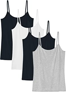 Le Nepho Basic Cami Women Stretch Camisole Spaghetti Strap Tank Top 4-Pack