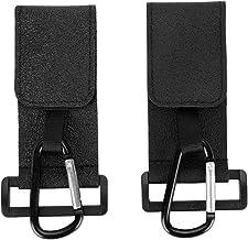 2 piezas de ganchos para cochecito de bebé con gancho y lazo Organizador de silla de paseo de aleación de cuero de PU para bolsas de compras