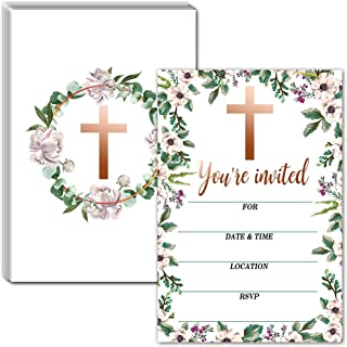 Religious Celebration Invitations with Envelopes – Floral Frame Style Invitations for Baptism, Confirmation, Christening, First Communion – 30 Cards With Envelopes