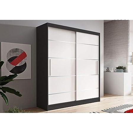 E-MEUBLES Armoire de Chambre avec 2 Portes coulissantes + eléments décoratif en aliminium | Penderie (Tringle) avec étagères (LxHxP): 150x200x61 LARA 06 (Noir + Blanc)