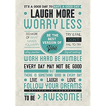 Imaginus Posters Laugh More Be Awesome Motivational 24x36 Poster Art Print
