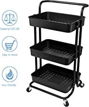 Homemaxs 3 Tier Rolling Utility Storage Cart with Handles and Roller Wheels Craft Cart for Kitchen, Coffee Bar, Microwave Cooking Station, Storage, Office, Bathroom (Black)