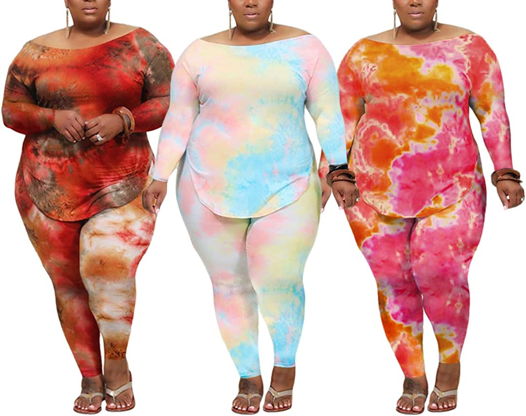 Ophestin Women Plus Size Casual 2 Piece Outfit Tie Dye Long Sleeve Top Pants Set