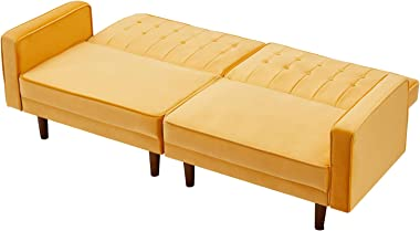 Futon Sofa Bed Upholstered Convertible Sofa Couch Sleeper with Folding Recliner,Split Type and Rail Arm,Loveseat Sofa for Liv