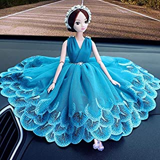 Royalfox Luxury Creative Car Beautiful Dashboard Decor Accessories Lovely Elegent Girl with Peacock Dressing for Woman Gir...
