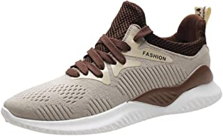 Running Shoes, Mens Fashion Sneakers Tennis Sports Walking Athletic Fitness Workout Casual Shoes (Beige, 43)