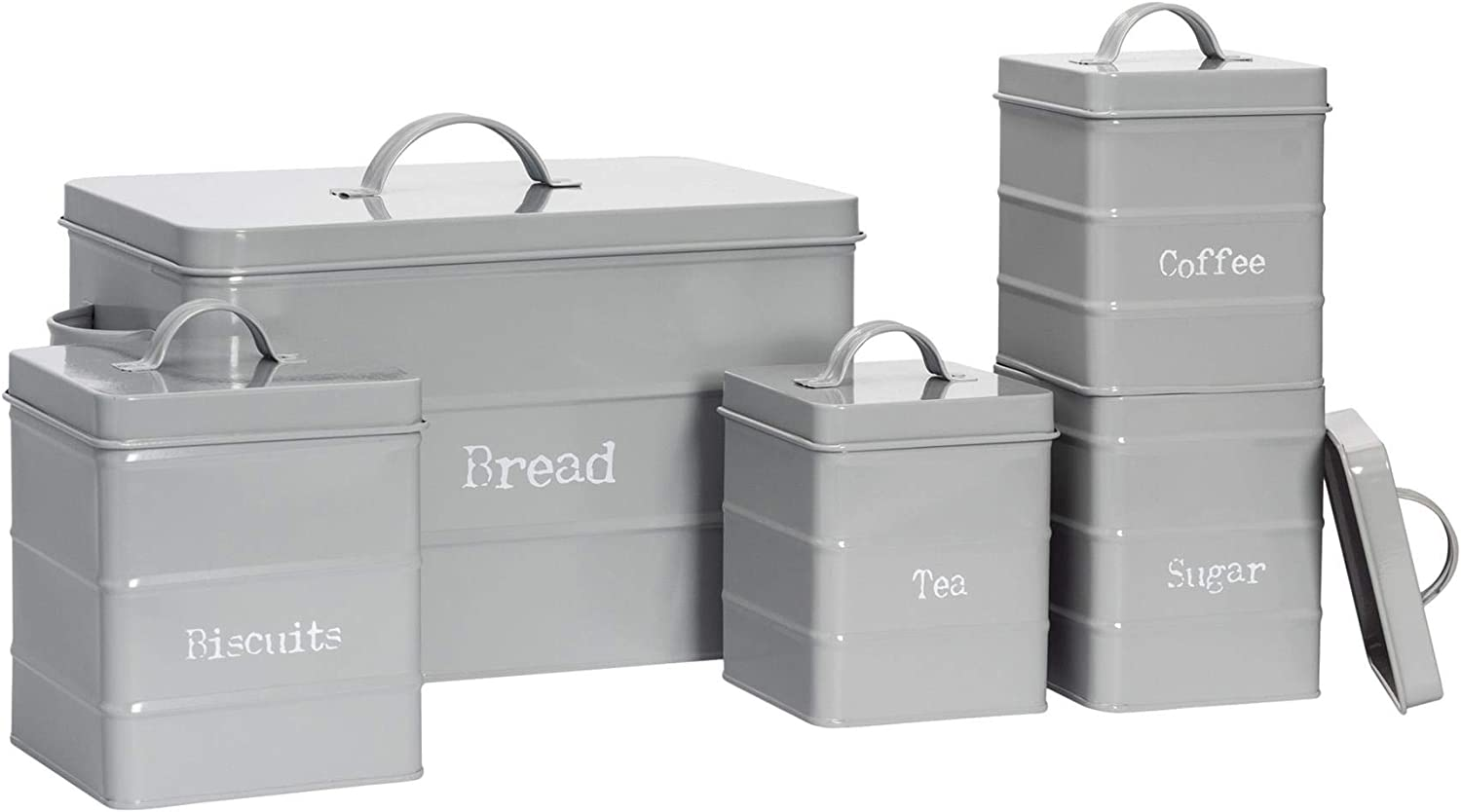 Harbour Housewares 5 Piece Industrial Kitchen Storage Canister Set Vintage Style Steel Tea Coffee Sugar Caddy With Lid Grey Amazon Co Uk Home Kitchen