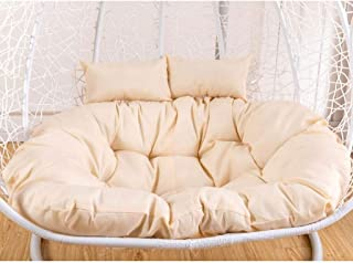 Egg Nest Shaped Cushions, Basket Cushion Wicker Rattan Swing Pads Hanging Hammock 2 Persons Seater Zipper Washable No Chairs 130x95 cm Fits Standard 51 Inch Chair (Color : White)