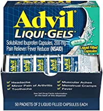 Advil Liqui-Gels Pain Reliever and Fever Reducer, Solubilized Ibuprofen 200mg, 100 Count (50 Packets of 2 Capsules), On the Go Fast Pain Relief