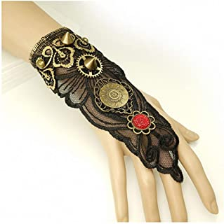 1 Pc Women Steampunk Style Lace Fingerless Long Gloves Lace Hollow-Out Chain Bracelet Skid Resistant Gloves Goth Party Costumes