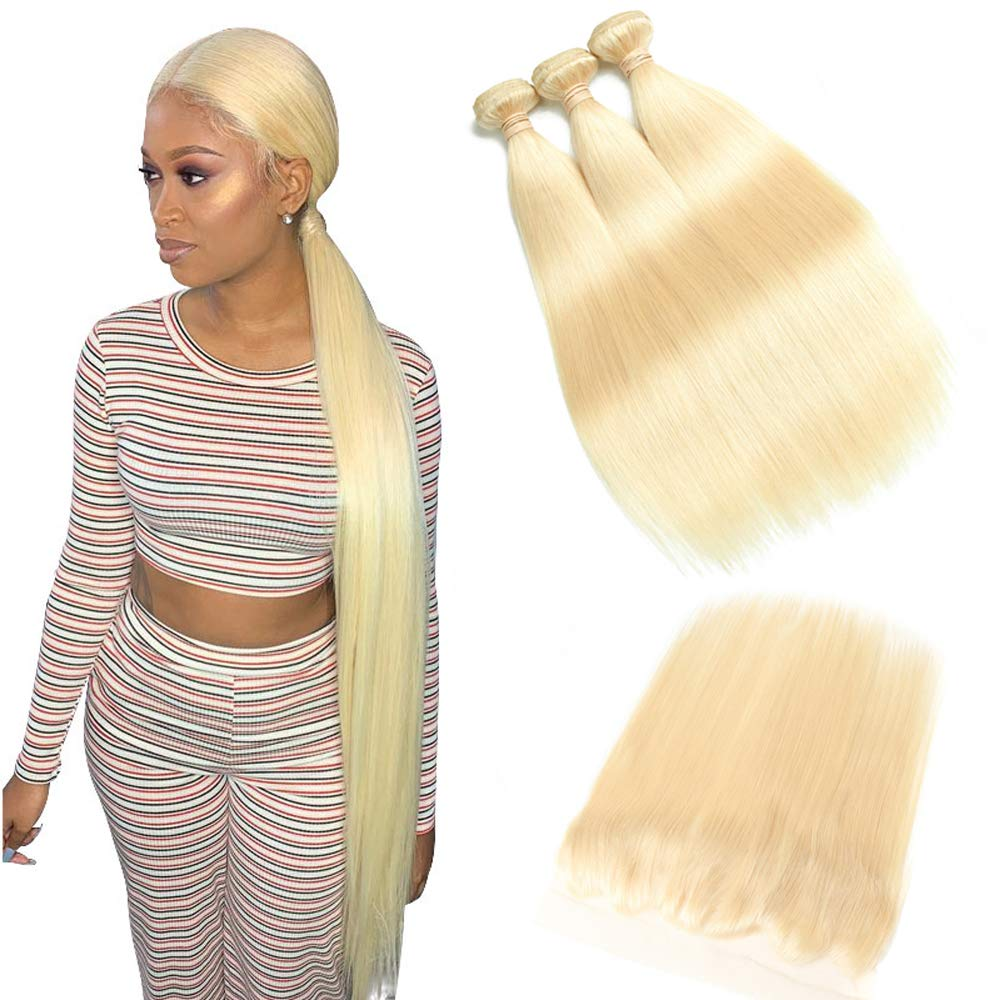 613 Blonde Malaysian Straight Ranking TOP7 Hair Plat Weekly update Frontal Bundles With