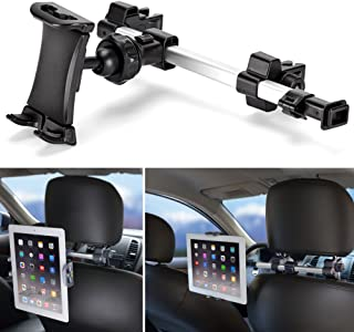 iKross Car Tablet Mount Holder Universal Backseat Headrest Extendable Mount For Apple iPad, iPhone, Tablet, Smartphone, Nintendo Switch, with Dual Adjustable Positions and 360° Rotation