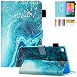 Dteck Protective Case Compatible with Galaxy Tab A 8.0 inch Case 2019 Release Model T290 T295 T297, Slim Fit PU Leather Built-in Multi-Angle Stand Wallet Folio Cover with Card Holder, Green Quicksand