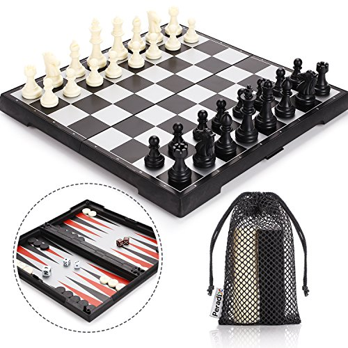 Peradix Magnetic Folding Chess Set, 3 in 1 with 3 Storage Bags, Staunton Magnet Chess Checkers Backgammon Travel Chess Board Game, Portable Travel Size, Educational Learning Toys for Teens and Adults