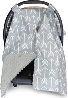 Car Seat Canopy and Nursing Cover Up with Peekaboo Opening - Arrow Grey