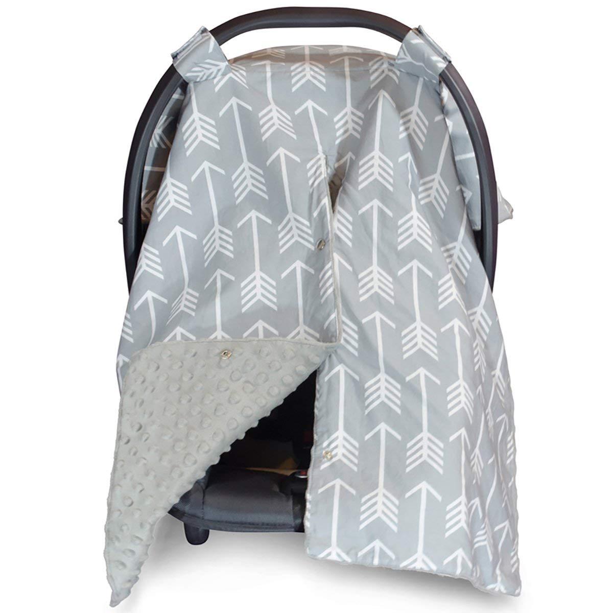 Kids N' Such Peekaboo Baby Car Seat Cover Car Seat Canopy & Nursing Cover, Arrow/Gray Minky