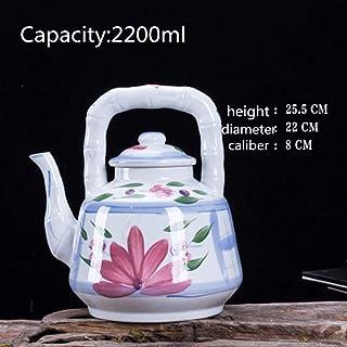 急須 バルク紅茶とティーバッグ用セラミックティーポットセラミックコールドケトル耐熱性および防爆 (Color : White, Size : 2200ml)