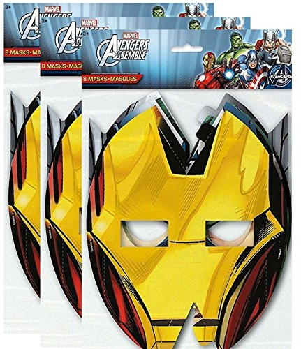 Marvel Avengers Assemble 8 ct Party Masks, 3 Pack