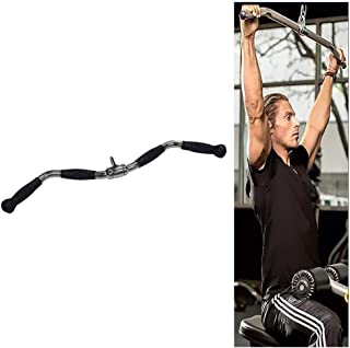 Tricep Press Down Bar LAT Pull Down Bar Handle Attachment for Cable Machine, Non-Slip Handgrips & Revolving Hanger, Long 30inch