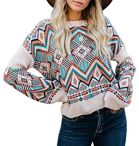 ETCYY Women's Rainbow Striped Color Block Boho Crew Neck Long Sleeve Pullover Sweater Tunic Tops