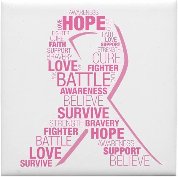CafePress Breast Cancer Ribbon Collage Tile Coaster Drink Coaster Small Trivet