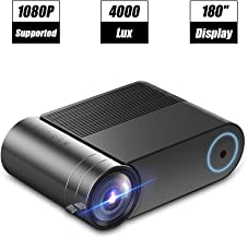 """$119 » Laiduoao Video Projector, 1080P Mini Projector 4.3 """"LCD Light Projector with 180'' Display Area, 4000 Lumen Portable Projector with 50,000 Hrs LED Lamp Life, Full HD Projector"""