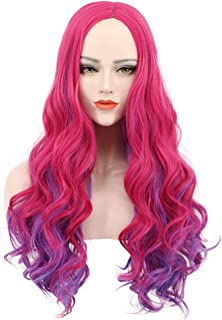 Karlery Adult Women Long Wave Pink and Purple Cosplay Wig Halloween Costumes Anime Party Wig(Adult)