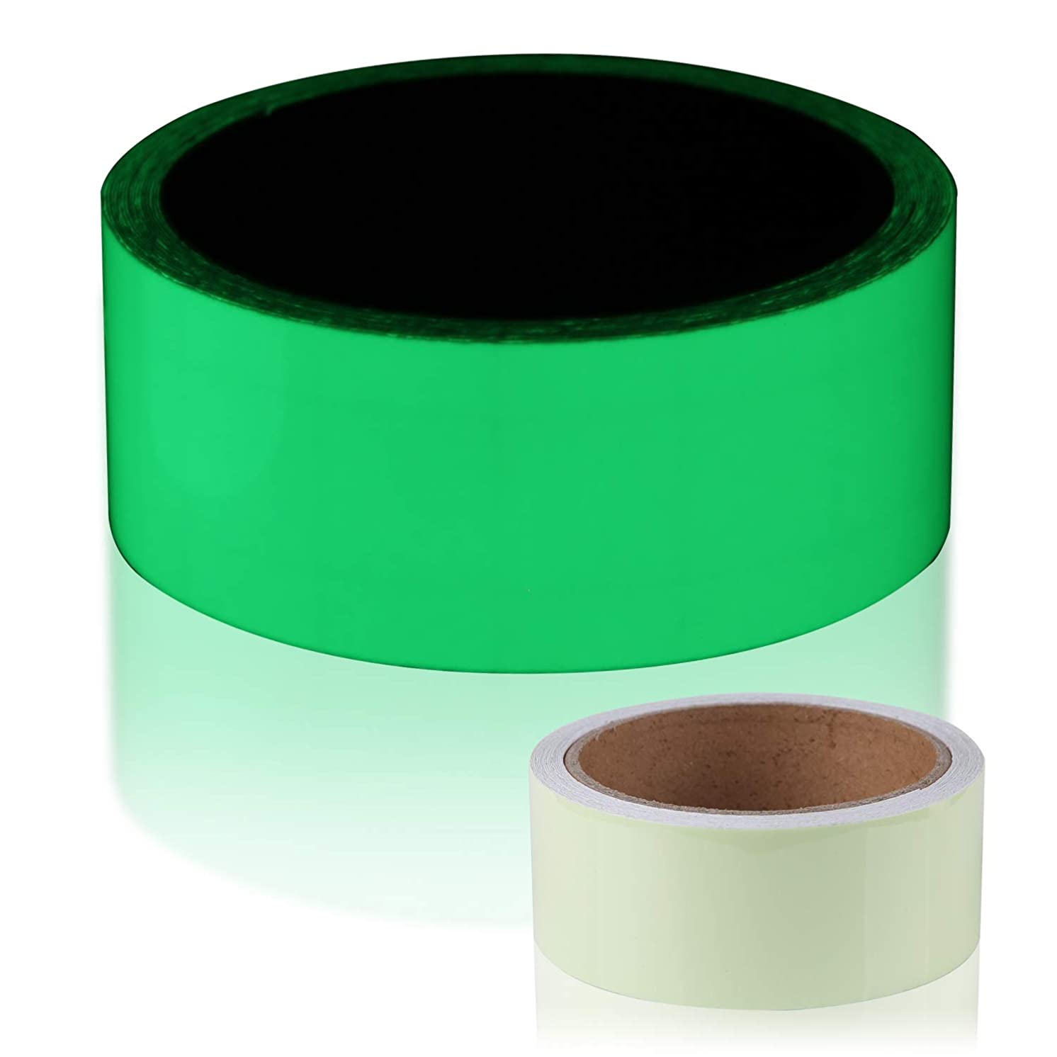 SENCOL Luminous Tape Glow time up to 12hours in The Dark Fluorescent Tape with Luminescent Emergency roll Safety Signs. Glowing Tape with Bright Fluorescent. (Green, 1.2inches x 17ft)
