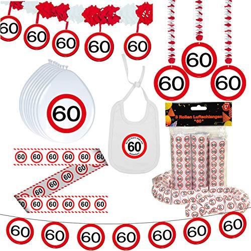 Unbekannt Deko Set 42 TLG. 60.Geburtstag Party Box Dekoration Glitter Girlande Luftballons