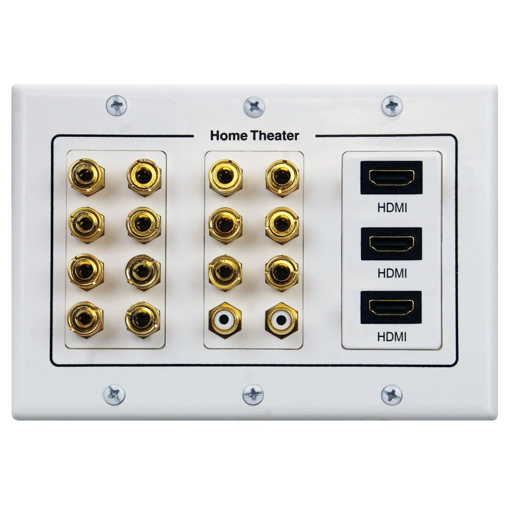 9.9/9.9 Home Theater Speaker Wall Plate 94K Gold Plated with 9 HDMI  Connectors
