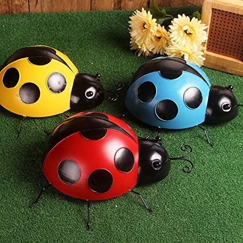 lowest Metal Garden Wall Art new arrival Decorative Cute Ladybugs Outdoor Wall Sculptures Metal Ladybug Garden high quality Decorations with Red and Black Spots Garden Decor Beetle Set of 3 sale